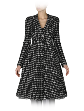 Emporio Armani Women's Outerwear - Fall Winter - Emporio Armani Checkered Princess Coat - Official Online Store
