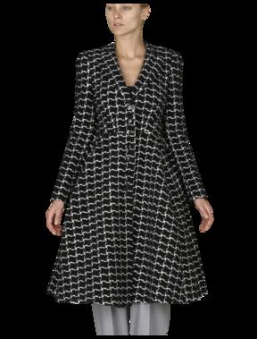 Emporio Armani Women's Outerwear - Fall Winter - Emporio Armani Checkered Princess Coat - Official Online Store