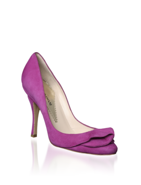 Emporio Armani Suede Ruffle Pump - Women's Shoes - Official Online Store